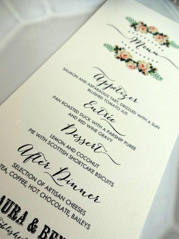 MENU CARD ideale per matrimoni cene luago di SweetPeaSunday