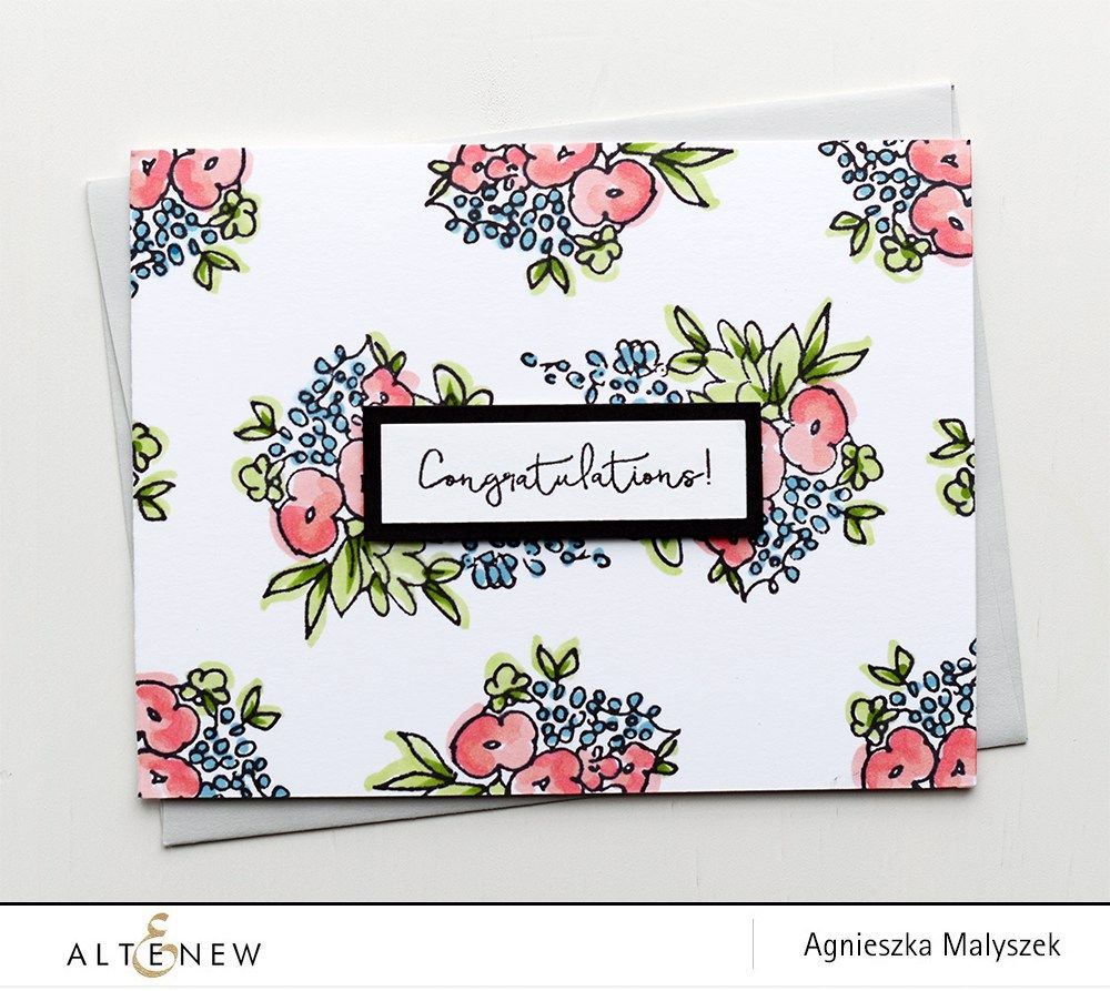 Handmade Congratulations Card With Flower Bunch Pattern This Card