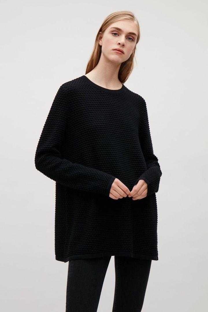 2e74504f4b7c COS image 8 of Textured A-line jumper in Black   Fashion   Fashion ...