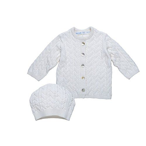 Under the Nile - Organic Cable Knit Cardigan & Hat Set (White)