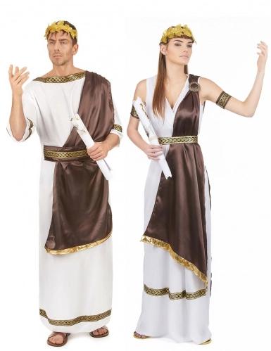 Römer und Römerin Kostüm-Set für Paare weiss-braun-gold in ...
