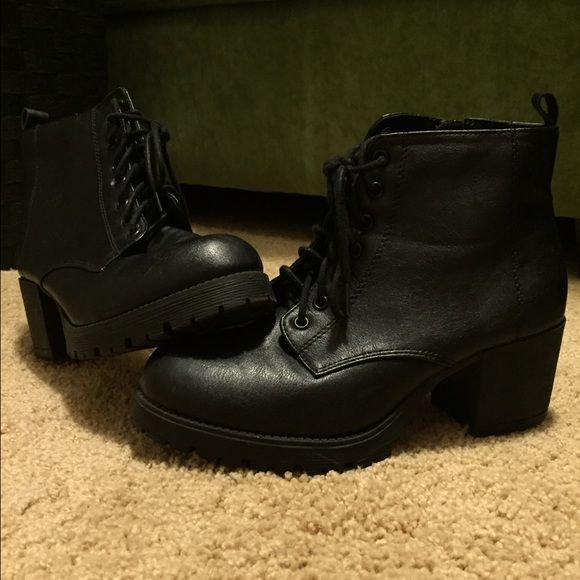 Combat heel boots Black combats with chunky heel! Shoes Heeled Boots