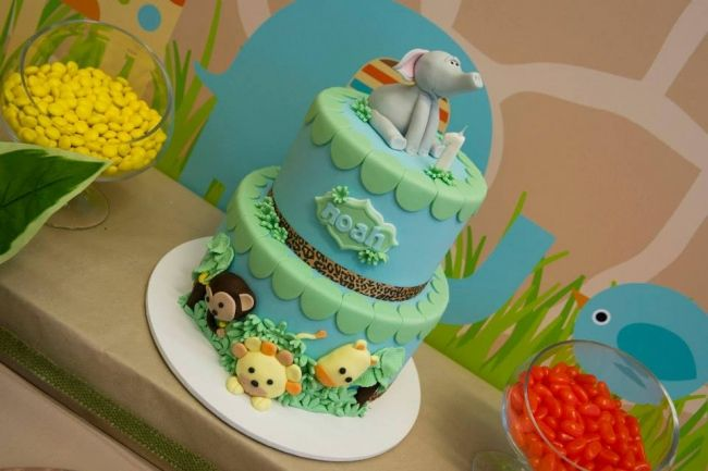 Boys First Birthday Jungle Themed Birthday Party Cake Idea