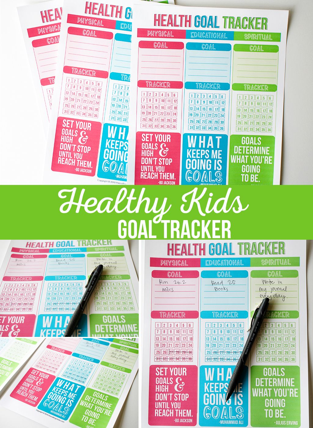 Healthy Kids Goal Tracker Kids Crafts And Activities Pinterest