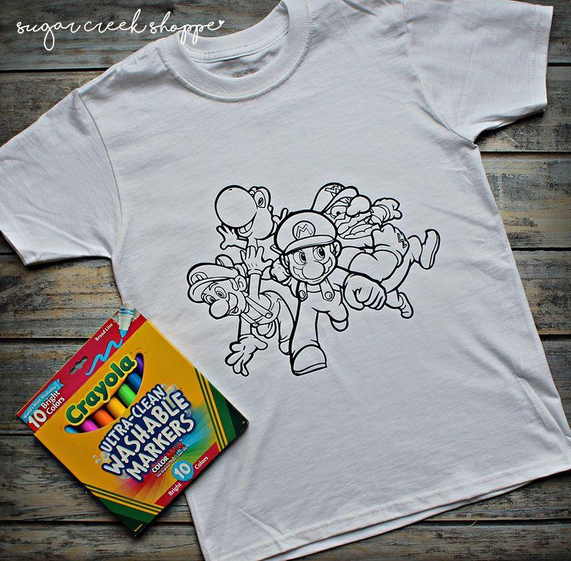 Mario brothers coloring shirt super mario kids shirt