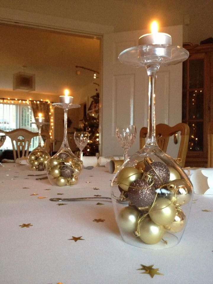 Gold And White Christmas Table Decorations Christmas Centerpieces Simple Christmas