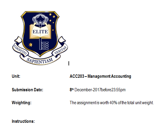 0010 ACC203 Management Accounting Accounting, Management