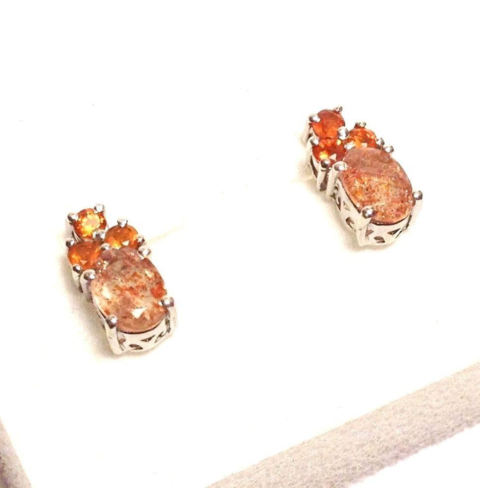 Sunstone, Fire Opal Earrings in Platinum Overlay Sterling Silver 1.80 ctw. #DropDangle