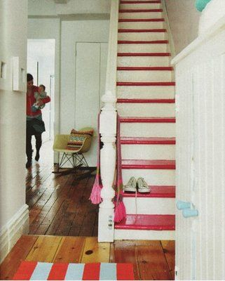 Love the idea of painted steps or the whole staircase being painted.  This is an inexpensive way to make the house have a little extra character! :)