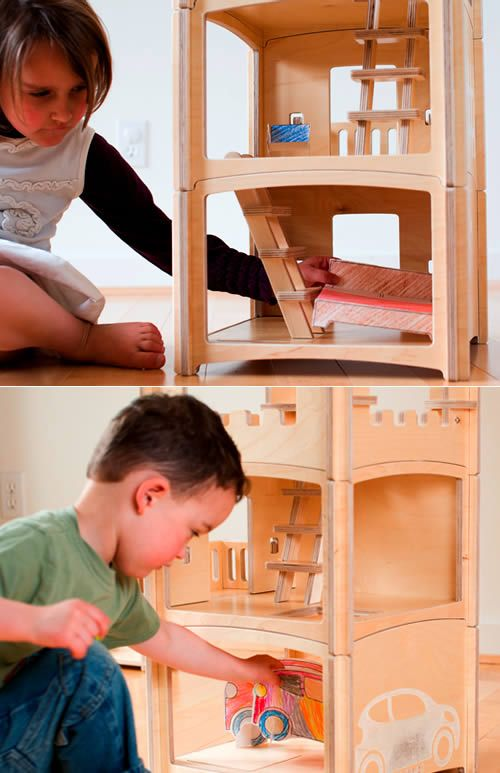 Wooden convertible doll house