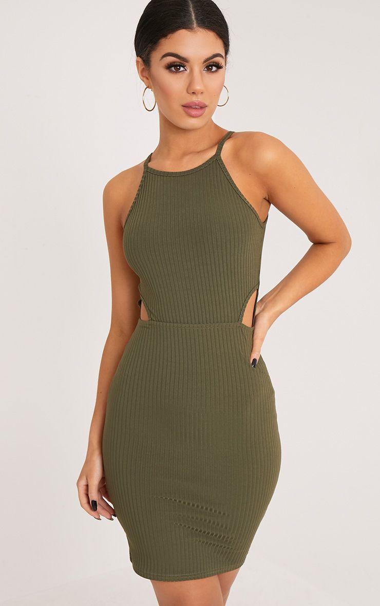 e131dcbdd102 Mireille Khaki Ribbed Cut Out Bodycon Dress Green Cocktail Dress