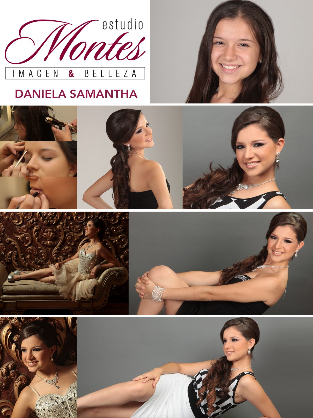 Proceso de maquillaje, peinado y fotografías de Daniela Samantha con Estudio Montes.