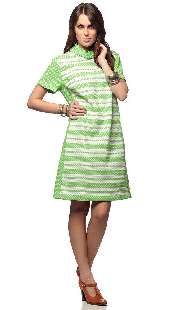 60s Xl Dress Plus Size Mod Striped Lime Green Mini Print 1960s Shift