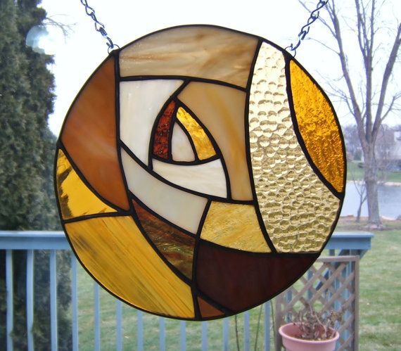 Stained glass panel window amber round circle stained