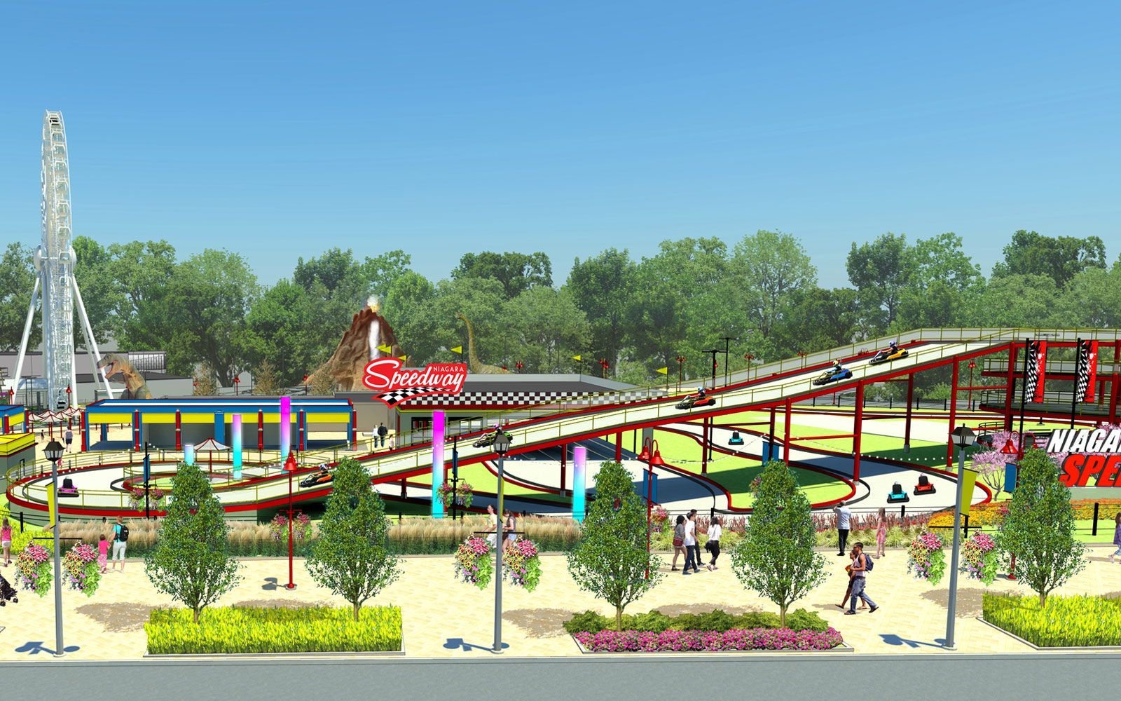 A Mario Kart Inspired Race Track Is Coming To Niagara Falls Race Track Go Kart Tracks Mario Kart