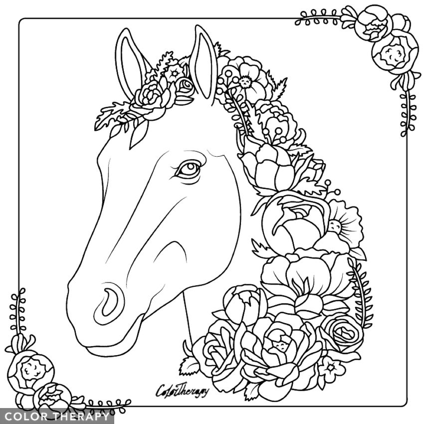 I Colored This Myself Using Color Therapy App For Iphone And Ipad It S So Fun And Relaxing Try This App For Free Get Colortherapy Me Caballos Animales Amor