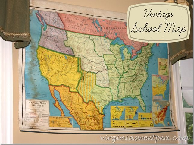 Vintage School Map for the Family Room   Vintage school, School and Room