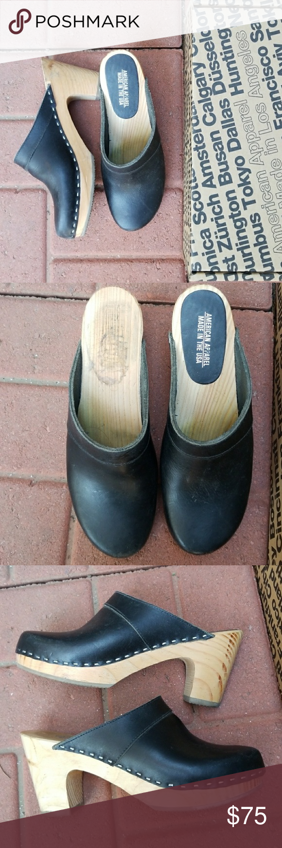 American Apparel closed toe clog leather American Apparel black leather closed toe clog.. has a rubber bottom for a nice grip. Worn a cpl times but in good condition. Normal Wear marks can be seen but overall in great shape. No trades American Apparel Shoes Mules & Clogs