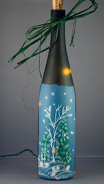 Recyled Lighted Wine Bottle Hand Painted Winter Scene