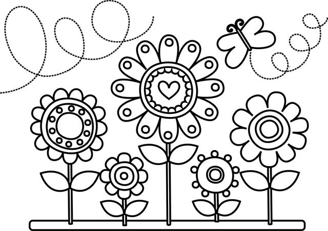 Fleurs , Dessin à imprimer et colorier gratuit Plus