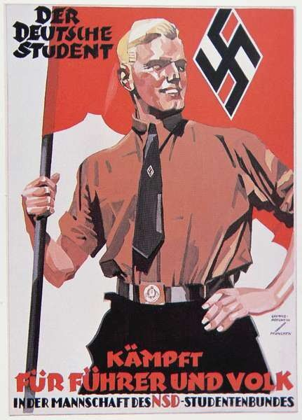 Nazi propaganda poster showing the man as the 'perfect ...