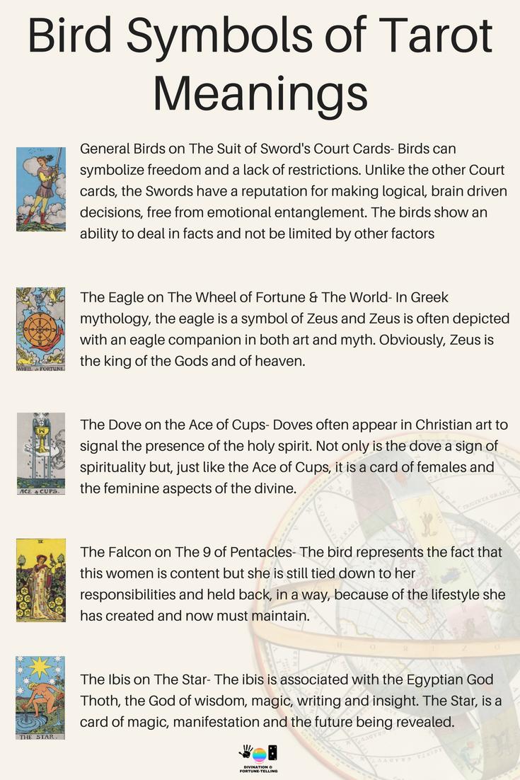 Meanings Of Bird Symbols On Tarot Cards Tarot World Pinterest