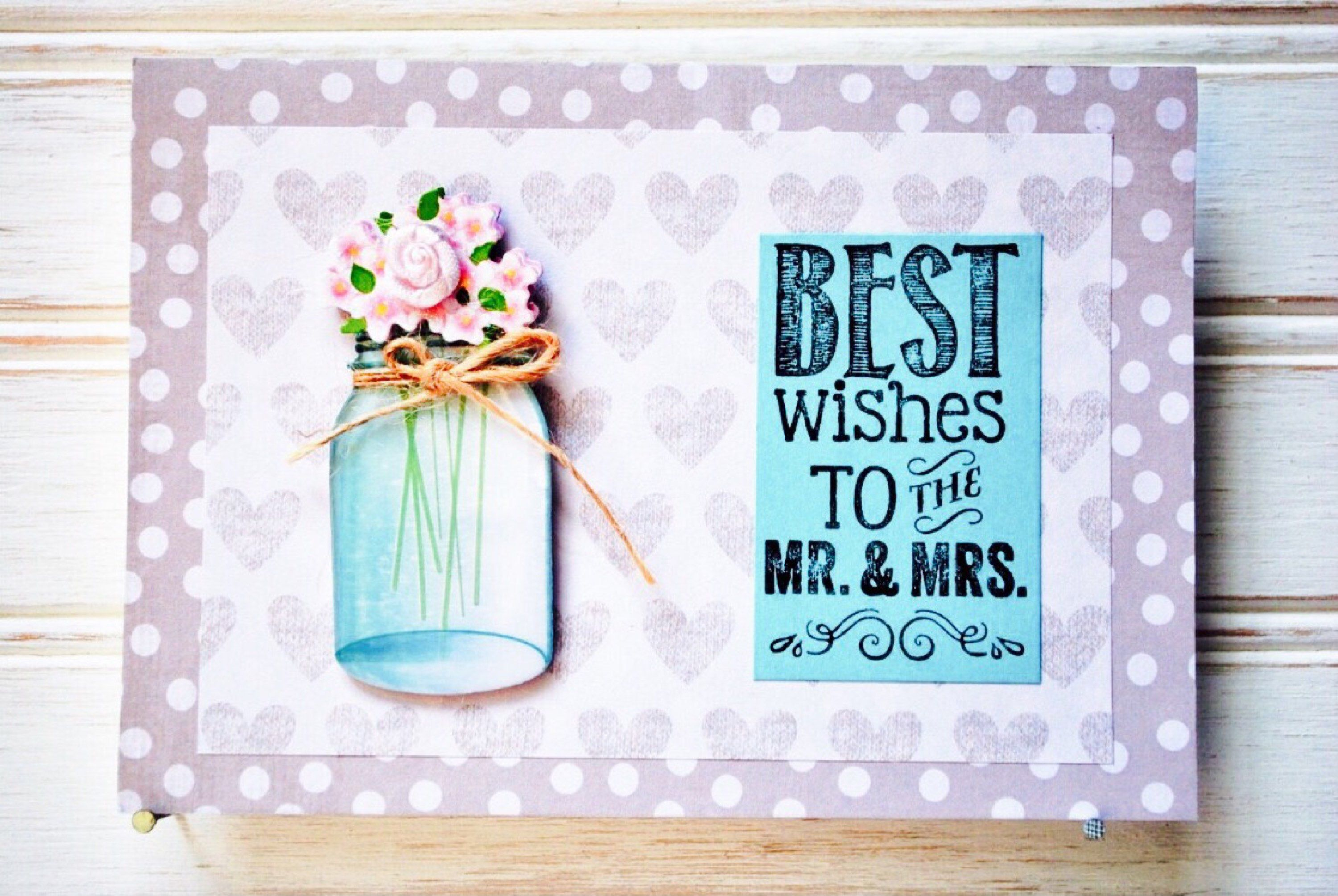 Wedding greeting card unique handmade to the mr and mrs card
