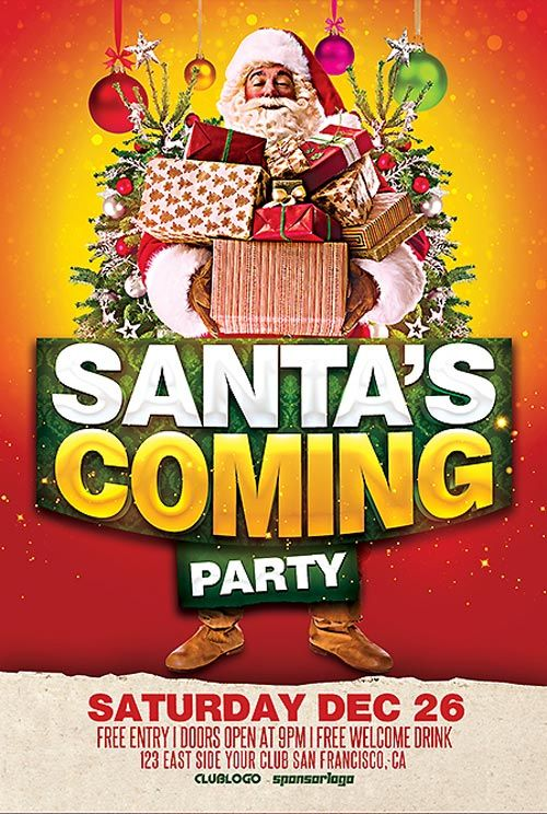 Free Santa Is Coming Party Flyer Template It S Beginning To Look
