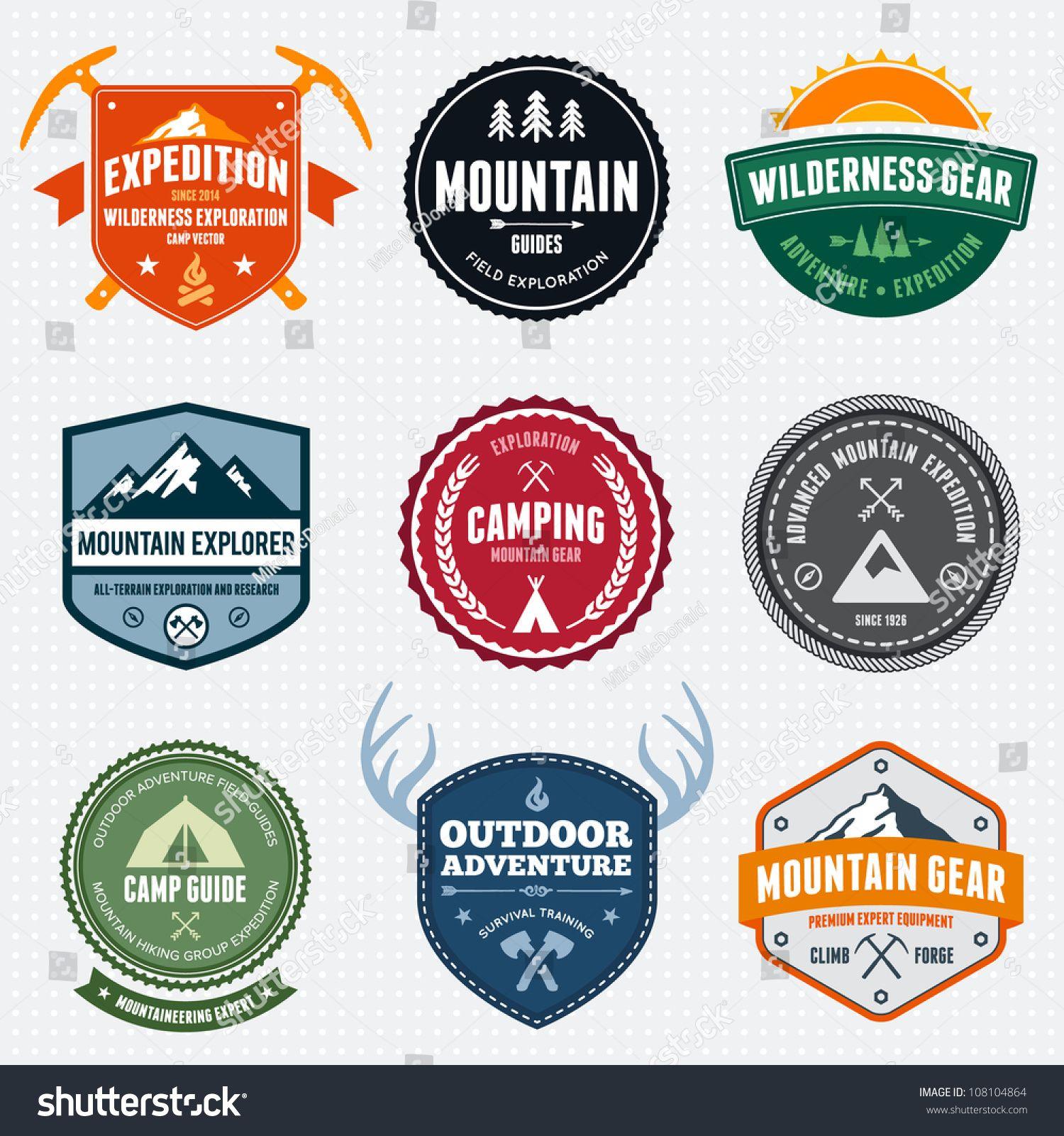 set of mountain adventure