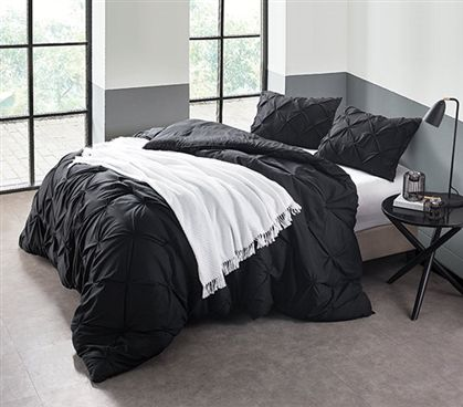 Black Pin Tuck Twin Xl Comforter Black Bedding Black Comforter