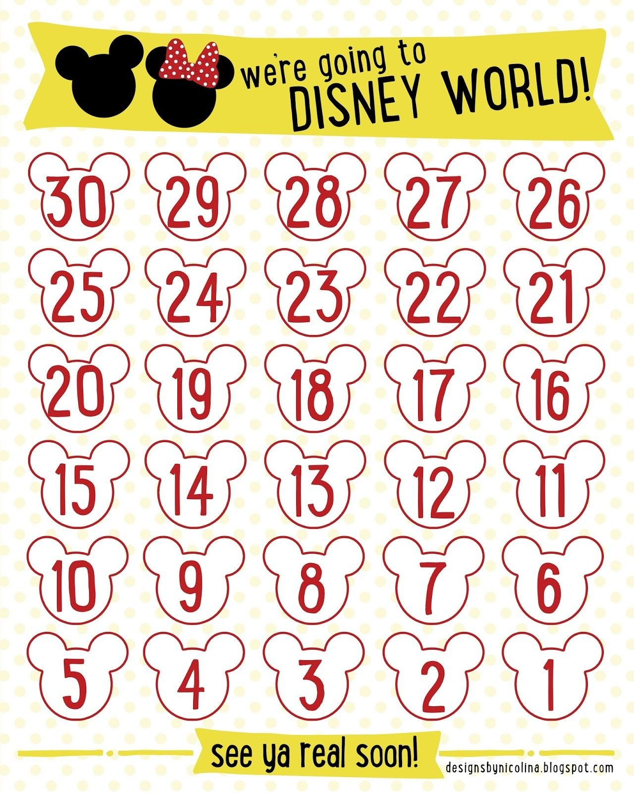 photo relating to Disney Countdown Calendar Printable called Countdown Calendars Printable Seem Success for \u201cdisney