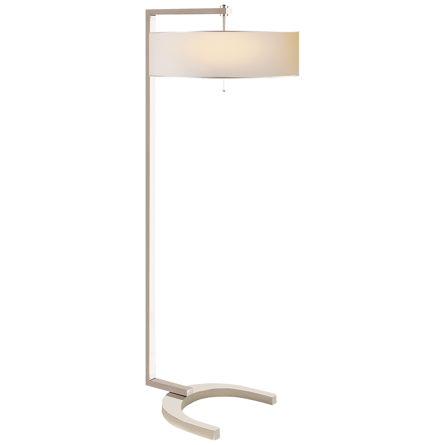 Hudson Floor Lamp In Polished Nickel With White Paper Shade