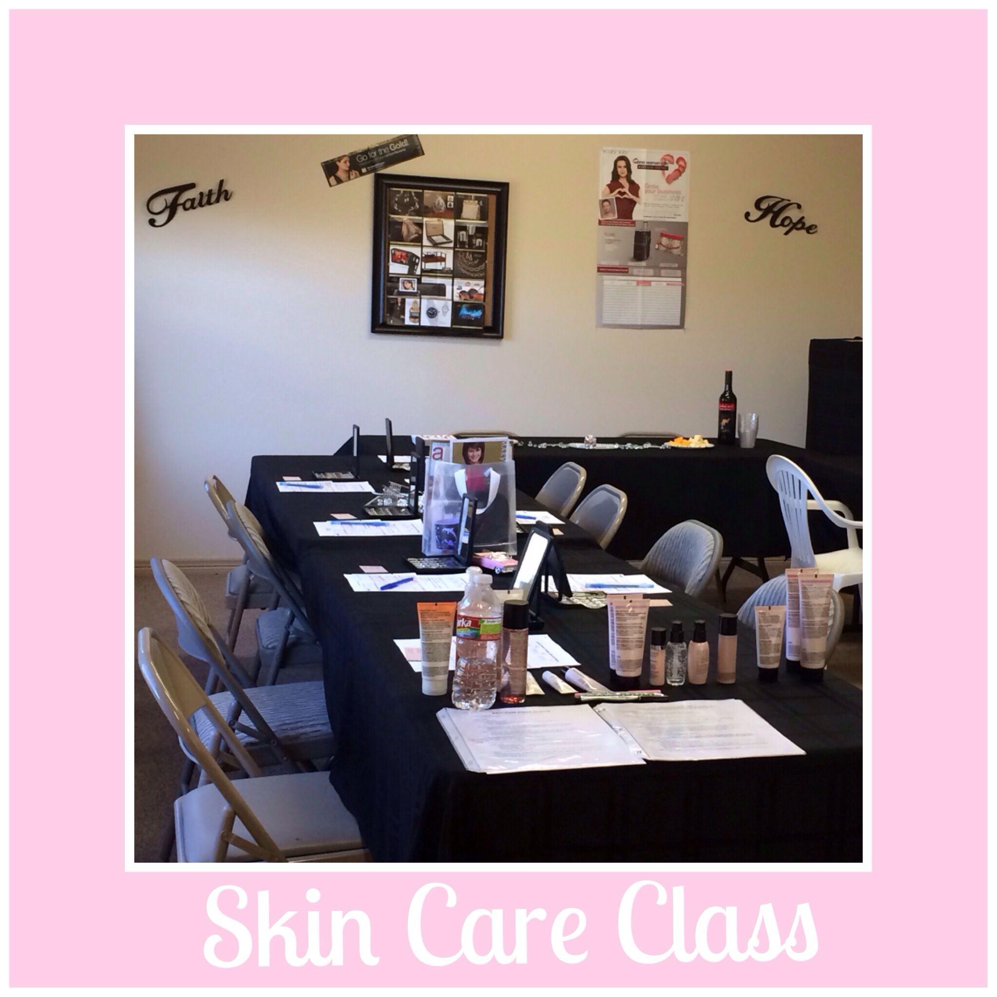 Mary Kay Skin Care Class Setup
