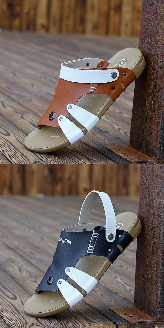Prelesty Summer Men Sandal Back Straps Outdoor Cool Breathable Beach Shoes Lightweight