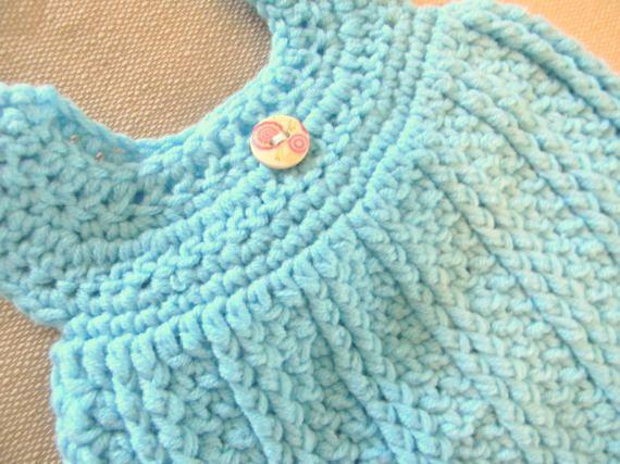 Crochet Infant dress and matching drawstring pants.  by CrochetAok
