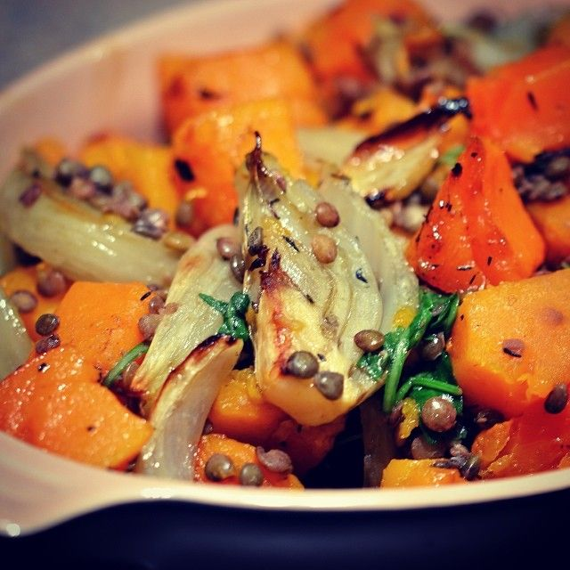 Thyme-roasted butternut & fennel with lentils and Arugala via coconutandberries instagram