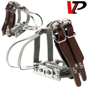 HT Bike Steel Clips Fixie Fixed Gear Retro Toe Clip Set  /& LEATHER STRAPS