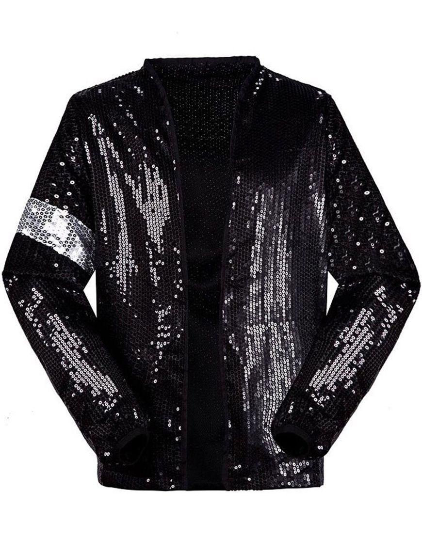 Michael Jackson Billie Jean Black Cotton Sequin Jacket Michael Jackson Costume Michael Jackson Jacket Clothes [ 1110 x 870 Pixel ]