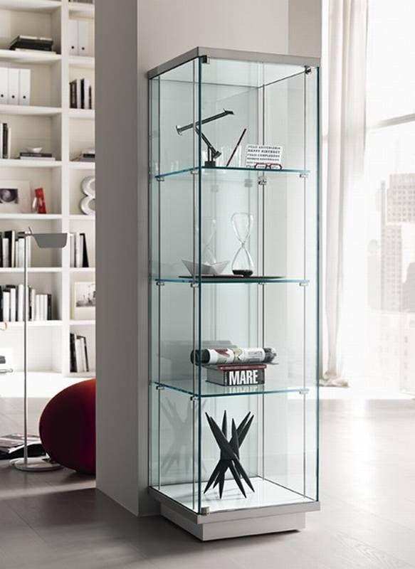 Tonelli Broadway Vetrina 1 Glass Storage Cabinet Ultra Modern Glass Cabinets Display Glass Display Unit Glass Shelves