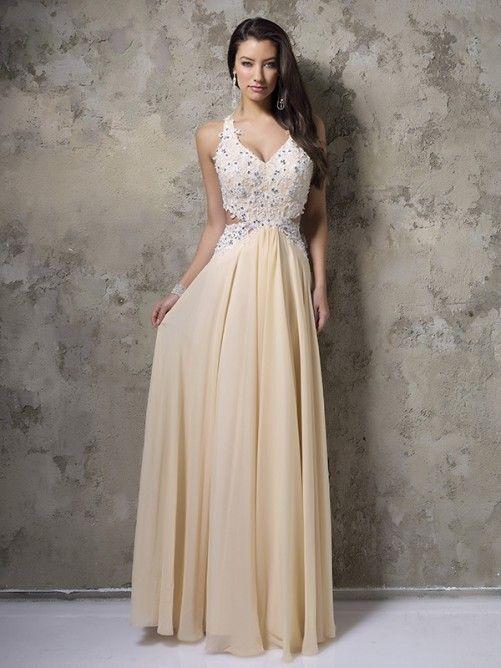 c989a83e6d5 A-Line Princess V-neck Sleeveless Applique Chiffon Floor-Length Dresses