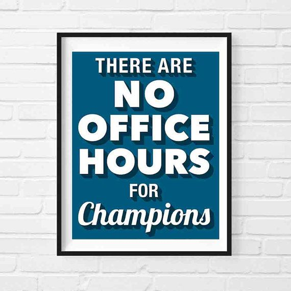 Champions Motivational Print, Motivational Poster, Office ...