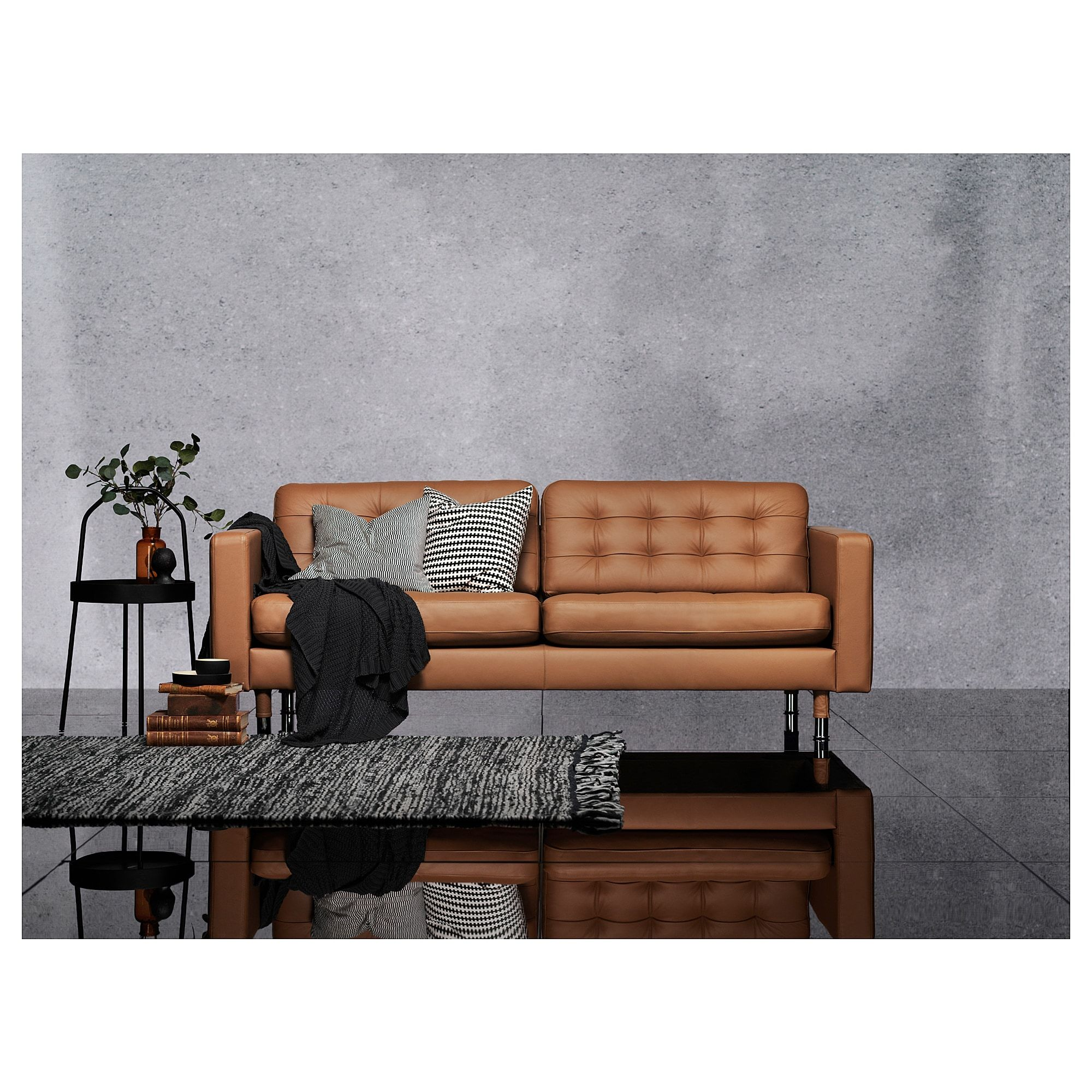 Ikea Landskrona Sofa Grann Bomstad Golden Brown Metal In