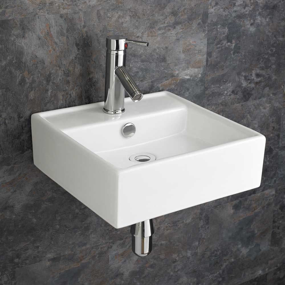 Small Square Wall Hung Ceramic Small Cloakroom Basin 380mm