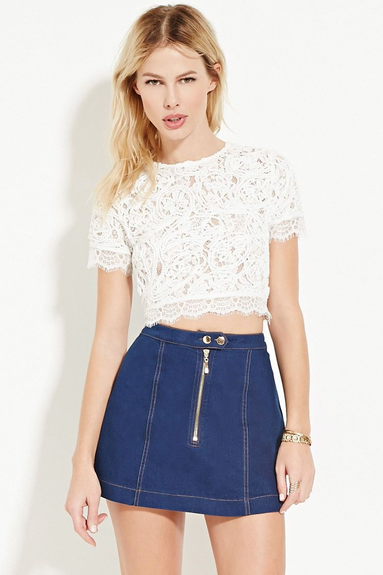 f51e8f4661b Textured Lace Crop Top | Forever 21 - 2000181860 | Summer/Spring ...