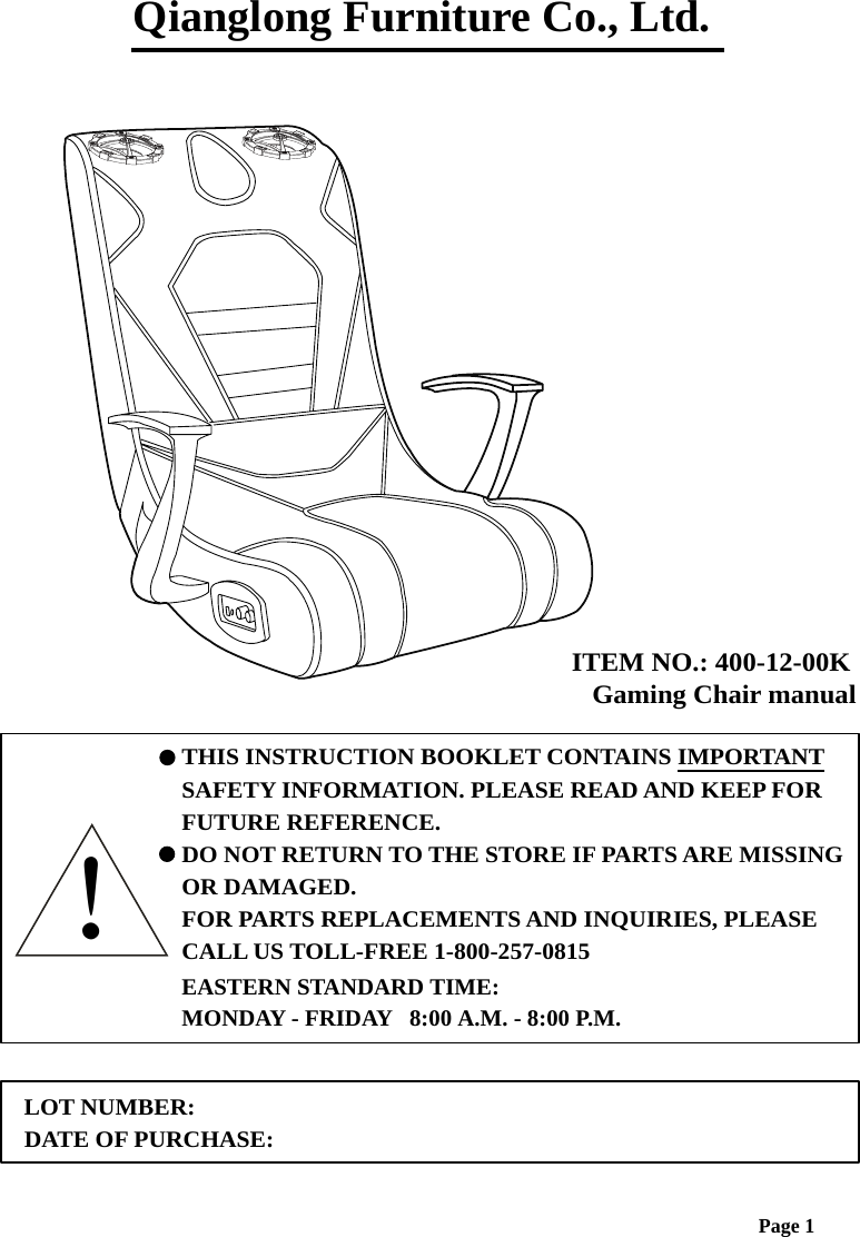 VIDEO GAMING CHAIR User Manual details for FCC ID 3ACQB4001300