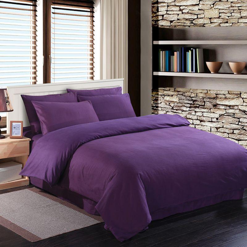 Deep Purple Bedding Set Duvet Quilt Cover King Full Double Bedspread Bed Sheet 100