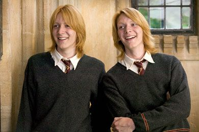 Fred and George Weasley played by James and Oliver Phelps. #WeasleyTwins #HarryPotter #PhelpsTwins