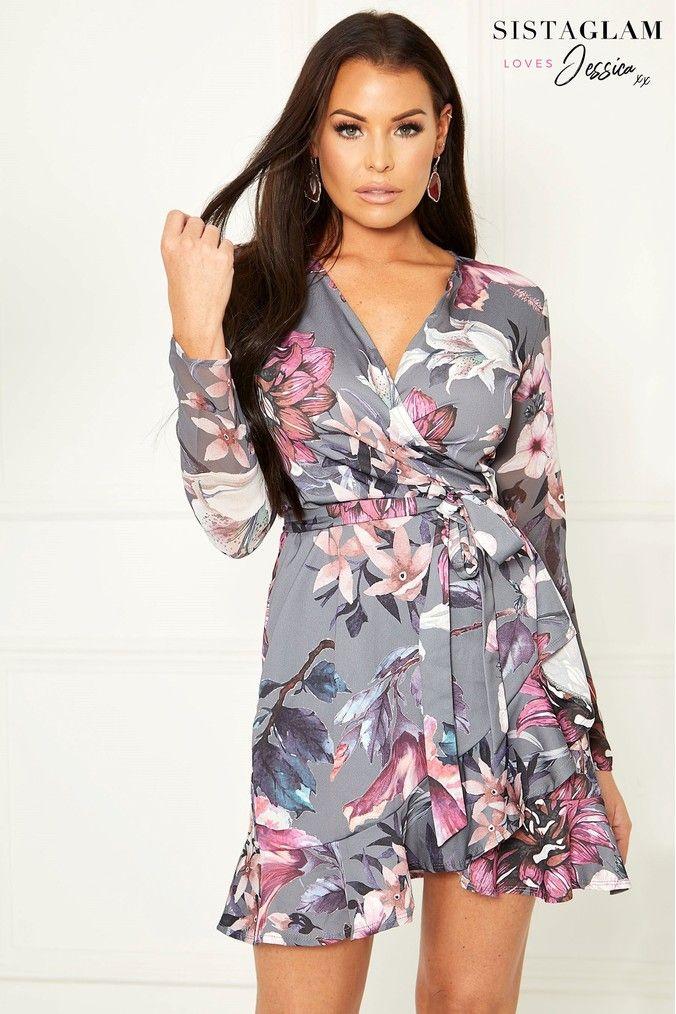c3e4bd40 Womens Sistaglam Loves Jessica Floral Print Frill Wrap Dress - Grey ...
