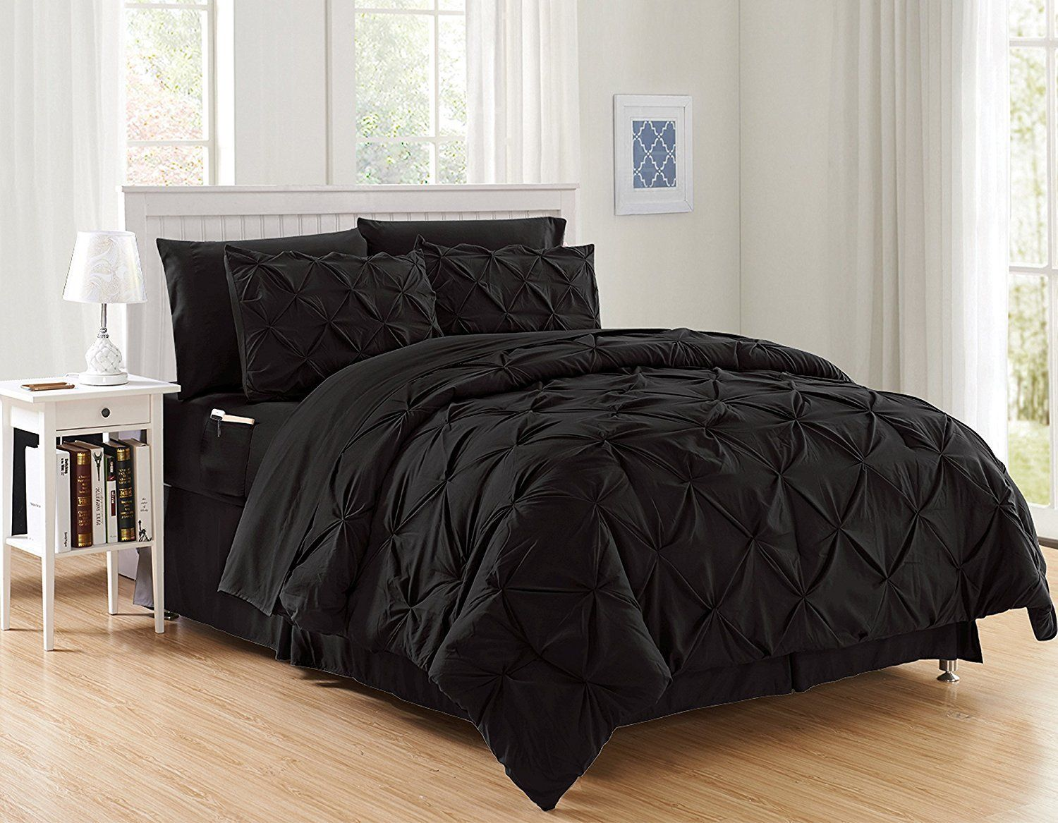 Silky Soft Pintuck Bed In A Bag 8 Piece Comforter Set Hypoallergenic Full Queen Black Walmart Com In 2020 Bed Sheet Sets Comforter Sets Luxury Comforter Sets