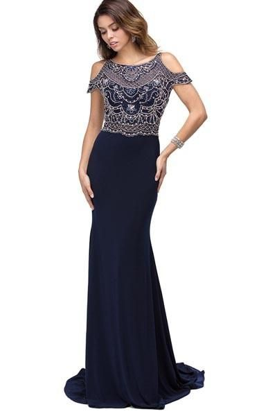 9a03f37a05 Dancing Queen DQ-9739 OFF SHOULDER RHINESTONE BEADING ON JERSEY MATERIAL
